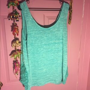 Torrid Knitted tank top with crochet accents teal.